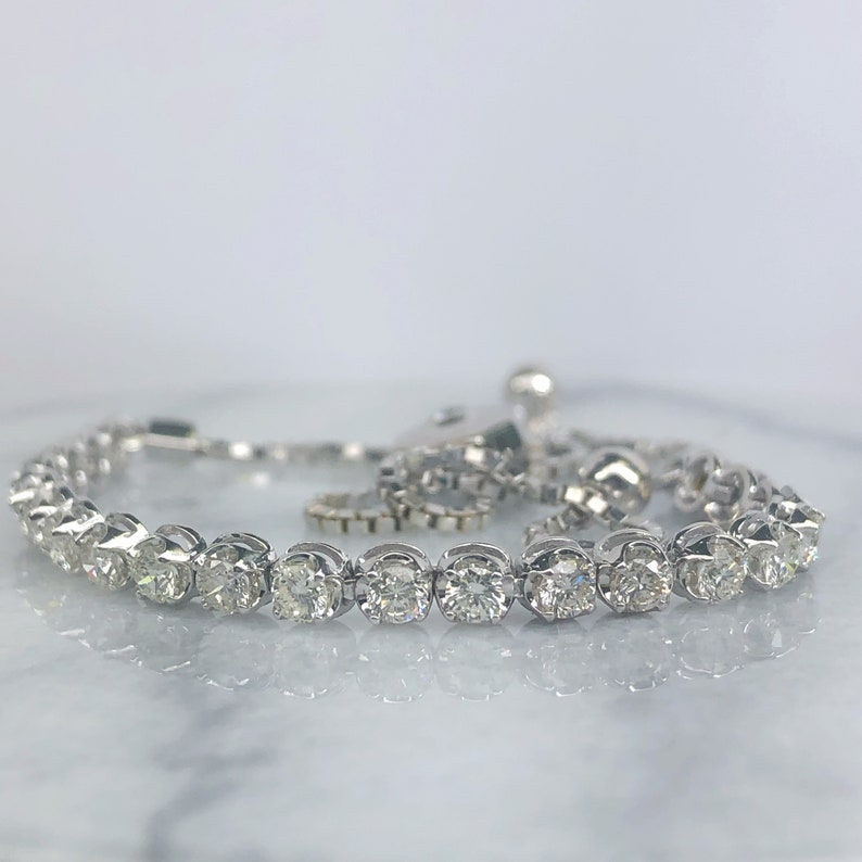 "Womens 0.20 Ct Diamond 10k Yellow Gold Floral Bolo Adjustable Bracelet Chain 9/"""