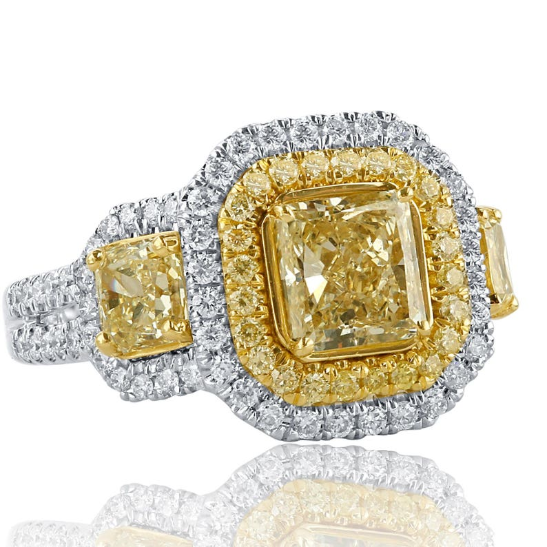 7dd0f7b32640d Exquisite 3.31 Ct Radiant Cut Engagement Ring, Yellow Diamond Engagement  Ring, Halo Engagement Ring, Natural Diamond Ring, 18k White Gold