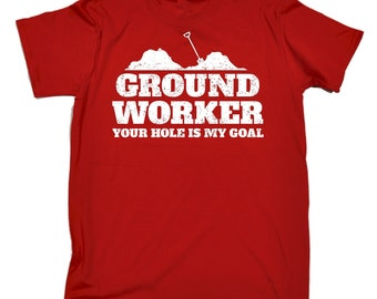 49ff3152 123t Men's Ground Worker Your Hole Is My Goal Funny T-Shirt Tee Tshirt T  Shirts Funny Novelty Birthday Gift Present Christmas