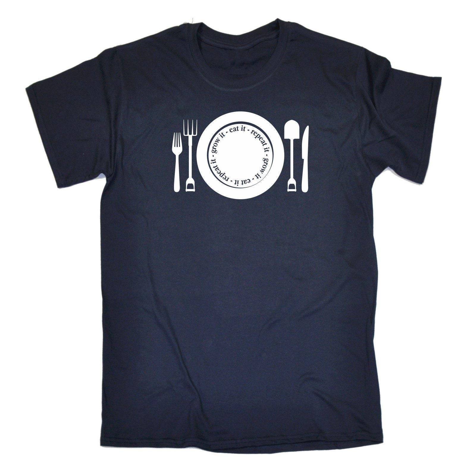 123t hommes poussent il manger T-Shirt répéter T-Shirt manger Tee Tshirt T Shirts nouveauté drôle cadeau d'anniversaire cadeau de Noël 7e56ec