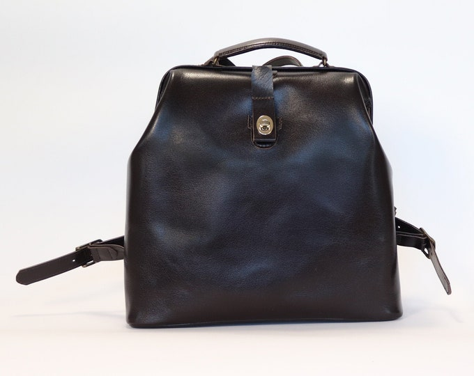 Womens Bag Mini Backpack Purse Small Backpack Leather Purse Brown Leather Bag Doctor Bag Gifts for Her Leather Handbag Womens Purse