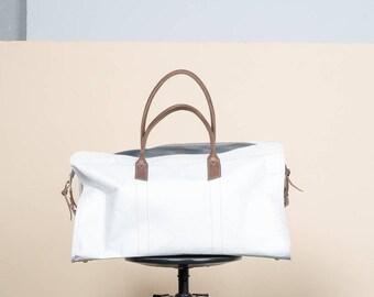Weekender Tote, Weekend Bag, Personalized Overnight Bag, Duffle Bag, Overnight Bag For Women, airplane bag, gym sports bag, white tyvek bag