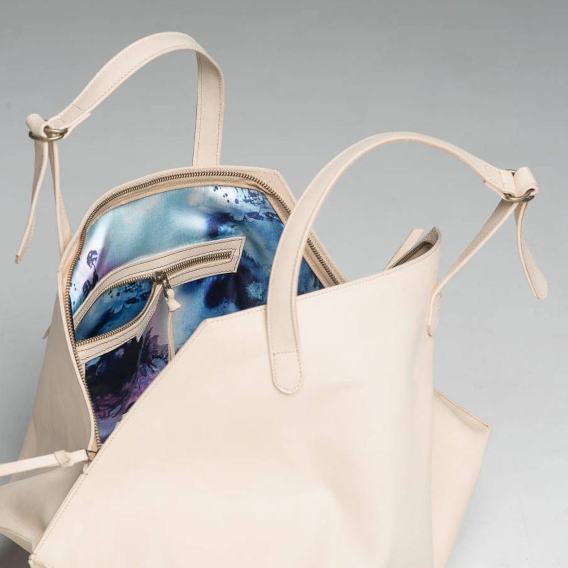 Nude Leather Handbag Large Nude Hipster Purse Oversized | Etsy