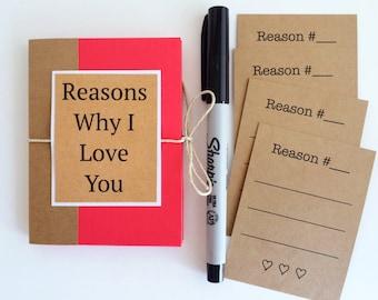 Reasons Why I Love You Gift/ Gift For Boyfriend/ DIY Anniversary Gift/ Unique Husband Gift/ Boyfriend Gift Ideas/ Gift Under 10/ Custom Card