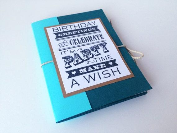 Birthday Book Tri Fold Book Gift Card Holder Mini Etsy