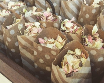 Mini Brown Paper Bags with Spots and Stripes Filled with Natural Dried Petal or Lavender Confetti