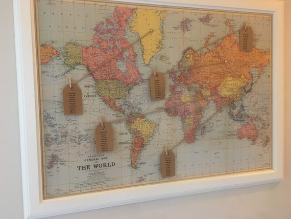 Vintage world map wedding seating plan with frame etsy image 0 gumiabroncs Choice Image