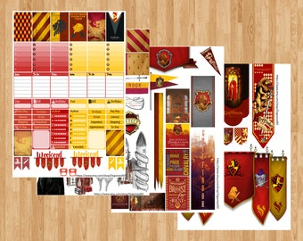 Gryffindor Printables / Printable Hogwarts Stickers / Harry Potter Planner Printable / Planner Stickers / Printable Stickers