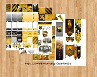 Hufflepuff Printables / Printable Hogwarts Stickers / Harry Potter Planner Printable / Planner Stickers / Printable Stickers
