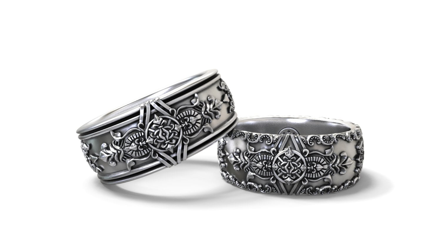 Gothic Wedding Rings.Gothic Wedding Bands His And Hers Set Sterling Silver Gold Palladium Platinum