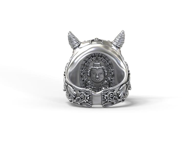 Hannya Demon ring Noh mask silver gold palladium | Etsy
