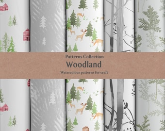 Watercolour Woodland Digital Papers Personal Use Patterns Scrap Book Background Craft Wrapping Paper