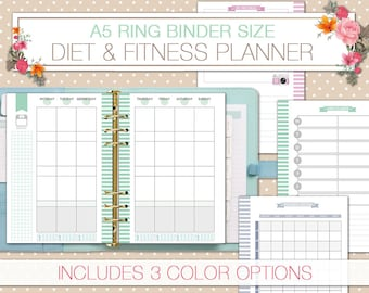 molang food and fitness planner pocket size printable health etsy