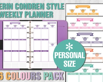 Erin Condren style printable weekly planner - PERSONAL size - without rules version