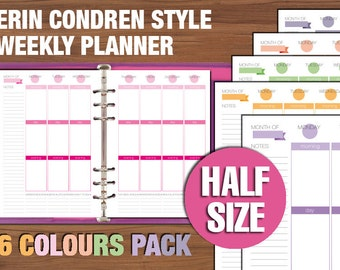 Erin Condren style Half size weekly planner printable vertical layout week on two pages