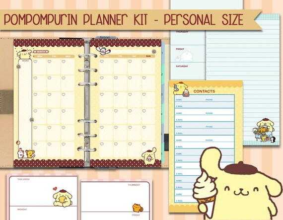 Printable Cute Kawaii Planner Kit Filofax personal size, week on two pages,  week on one page, to do list, monthly view, instant download