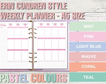 Erin Condren style printable weekly planner - A5 size - PASTEL VERSION