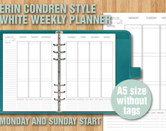 Erin Condren style printable weekly planner - A5 size - WHITE VERSION - sunday and monday start - without tags