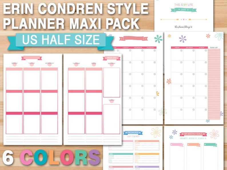 picture regarding Erin Condron identify Erin Condren structure planner package vertical style 50 % Dimensions printable month-to-month planner weekly unfold prompt down load