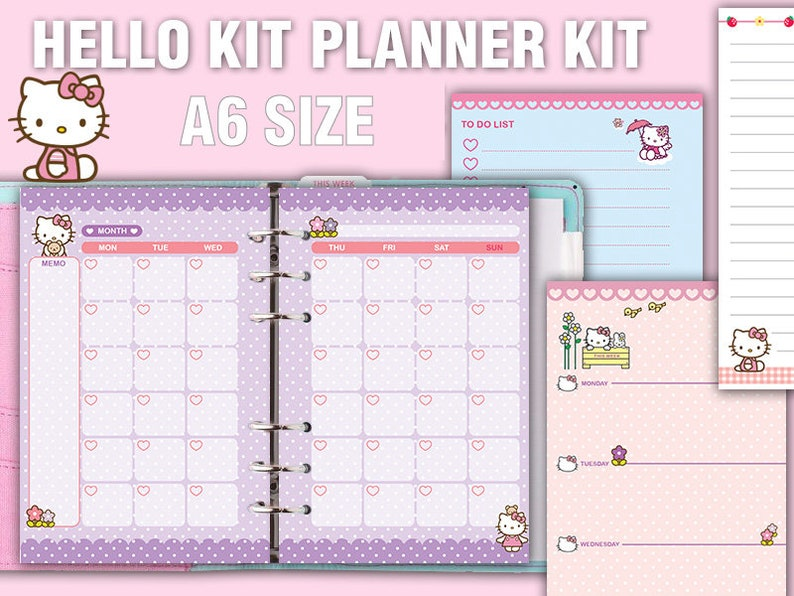 image about Cute Weekly Planner titled kawaii printable A6 planner package lovely weekly planner every month planner in the direction of do checklist notes undated program refills planner package