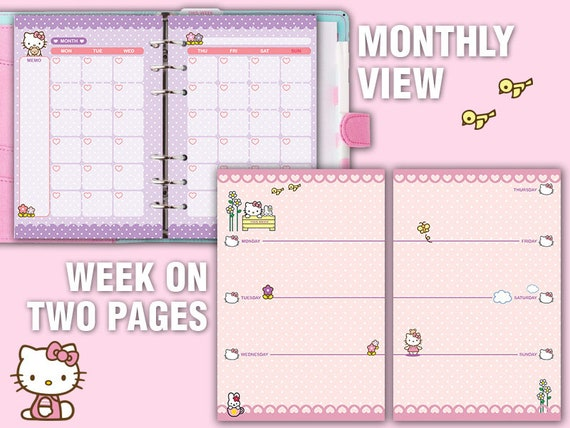 photograph relating to Cute Weekly Planner titled kawaii printable A6 planner package lovely weekly planner regular monthly planner in the direction of do listing notes undated timetable refills planner package deal