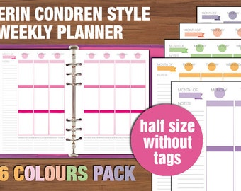 Erin Condren style Half size weekly planner printable vertical layout week on two pages without tags
