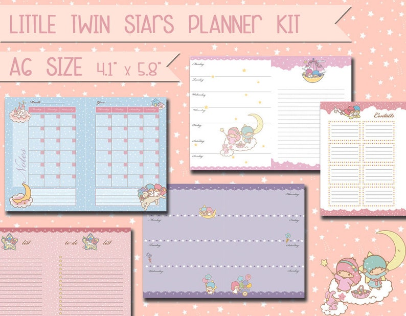 photo relating to Cute Weekly Planners known as printable a6 planner package lovable kawaii weekly planner month-to-month planner in the direction of do listing notes undated schedule refills planner package
