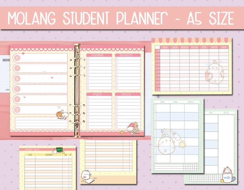 graphic relating to Printable School Planner named Scholar Planner Molang a5 Printable higher education planner homeschool planner Review Organiser Pack University Planner Accademic planner