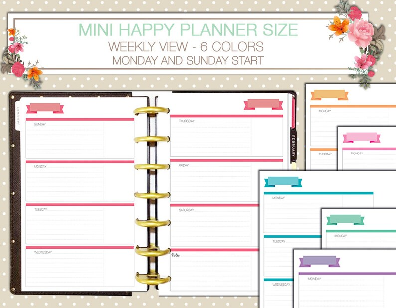 photo regarding Free Mini Happy Planner Printable Inserts referred to as Mini Pleased Planner Weekly printable inserts horizontal style and design sunday begin monday start off 7 days upon 2 internet pages