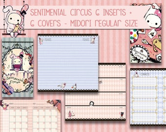 Midori inserts sentimental circus printable bujo fauxdori to do list weekly planner monthly planner covers notes pages INSTANT DOWNLOAD