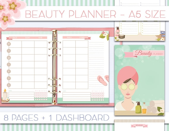 beauty planner printable inserts a5 skincare routine tracker etsy
