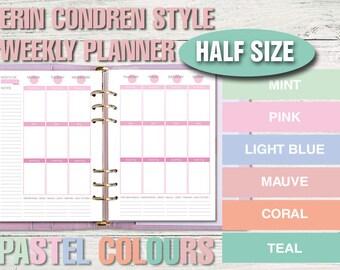 Erin Condren style printable weekly planner -half size- PASTEL VERSION