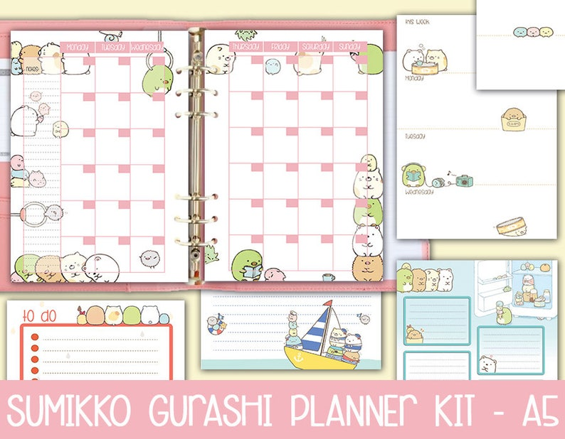 printable a5 planner kit SUMIKKO GURASHI weekly planner monthly planner  kawaii to do list notes undated white background instant dowload pdf