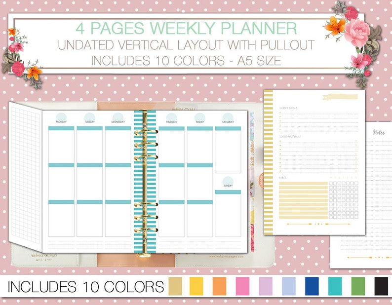 picture about A5 Planner Printable identified as A5 planner printable undated weekly planner upon 4 webpages with pullout vertical style WO4P notes and tracker filofax a5 7 days upon 2 webpages
