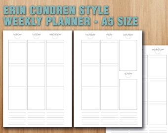 Erin Condren style weekly planner printable A5 size filofax inserts white layout