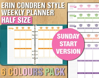 Erin Condren style Half size weekly planner printable vertical layout week on two pages sunday start version