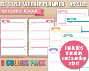 Erin Condren style printable weekly planner - A5 size - HORIZONTAL LAYOUT