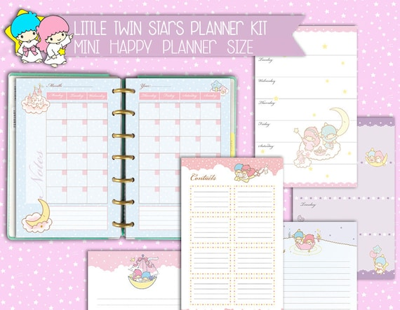 photograph regarding Cute Weekly Planners referred to as printable mini pleased planner package adorable kawaii weekly planner every month planner towards do listing notes undated mambi refills planner deal