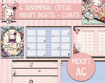 Midori inserts a6 sentimental circus printable bujo fauxdori to do list weekly planner monthly planner covers notes pages INSTANT DOWNLOAD