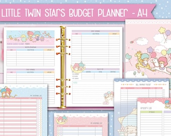 Printable a4 kakebo Budget planner inserts kawaii money tracker a4 cute budget inserts expenses bill tracker