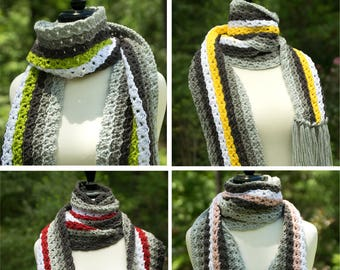 Multicolor Striped Scarf - Long Acrylic Winter Scarf for Men or Women - Tassel Fringed Scarf in Grays & White with Accent Color