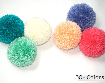 6 Large Yarn Pom Poms - 3 inch Made to Order Acrylic Yarn Balls for Hats or Party Decorations - DIY Craft Pompoms in 55 Colors - Bag Charms