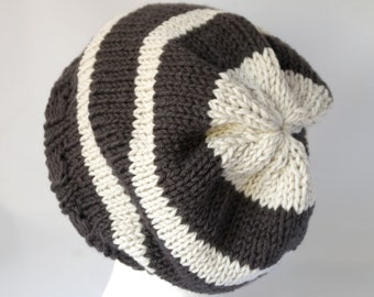 Satin Lined Knit Winter Hat - No Frizz Natural Hair Bonnet in Graphite    Ivory Stripes - Acrylic Non Wool Beanie for Curly Hair Care 36590c1b956