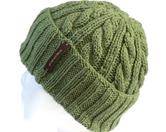 Small Light Olive Green Beanie with Optional Satin Lining - Non Wool  Children s Winter Hat with Doubled Brim - Pom Pom Sold Separately 343fa92db61