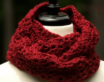d4f2bc19216b3 Dark Red Crocheted Infinity Scarf - Machine Washable Non Wool Shawl or Cowl  in Cranberry Red
