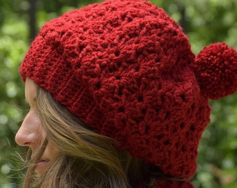 398b1a987b3 Satin Lined Winter Hat - Natural Hair Crocheted Slouchy with Add On Flower    Pom Pom Sold Separately - Made to Order Dauphin Hat