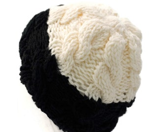 Child s Cable Knit Beanie in Ivory   Black - Handmade Boys or Girls Winter  Non Wool Hat - Two Toned Hypo Allergenic 204b04a0c54