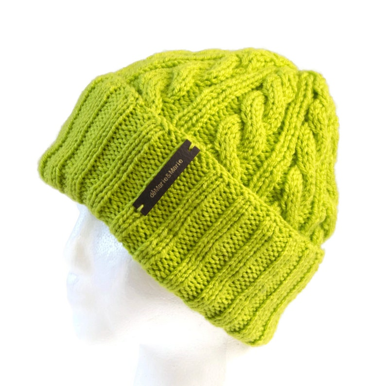 67459f84755e3 Lime Green Beanie with Optional Satin Lining   Pom Pom Sold