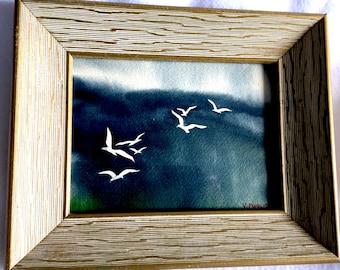 1950s Vincent Puglisi Seagulls Watercolor