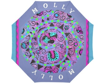 Molly Personalized Rain Umbrella with purple, pink and blue color tones and an aqua blue swirl with lime green dots